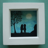 Couple Moon Picture, Framed Valentines Art, Love Gift Romantic Couple Silhouette