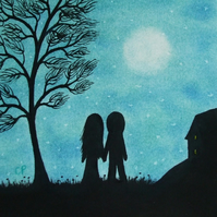 Romantic Valentines Picture, Framed Love Art, Couple Moon Tree, Unique Love Gift