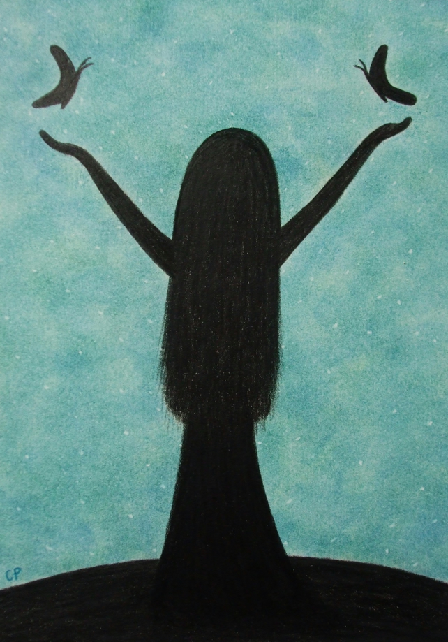 Spiritual Card, Girl Silhouette Art Card, Graduation, Girl Well Done Card, Hope