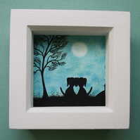 Framed Dog Picture, Valentines Gift, Love Art, Two Dogs Silhouette Romantic Moon