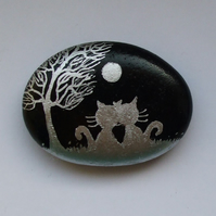 Cat Stone Painting, Valentines Love Gift, Romantic Cats Moon Tree, Painted Rock