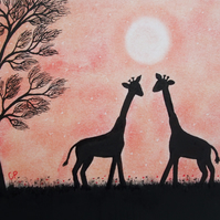 Giraffe Card, Romantic Anniversary Card, Two Giraffes Engagement Card Animal Art