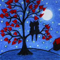 Cat Love Card, Gay, Lesbian, Couple Card, Romantic Cats Tree Moon Stars Card