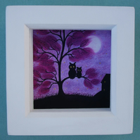 Owl Tree Picture, Framed Pastel Art, Mothers Day Gift, Owl Daughter Gift, Purple