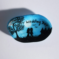 Wedding Day Card, Shell Painting, Couple Tree, Unique Wedding Card, Hand Painted