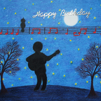 Guitar Birthday Card, Music Moon Stars Card, Guitarist Art Card, Happy Birthday