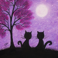 Cat Card, Purple Tree Moon Card, Two Black Cats Anniversary Card, Engagement Cat