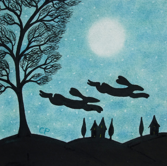 Hare Card, Moon Silhouettes Card, Bunny Rabbit, Easter Card, Hares Birthday Card