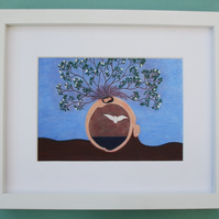 Birth Art Picture, Framed Mother and Baby, Spiritual Pregnancy Gift Mother Earth