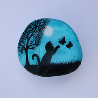 Painted Seashell; Cat and Butterflies Silhouette, Shell Art, Black Cat Tree Moon