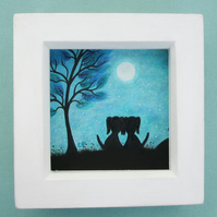 Framed Dog Picture, Love Art, Romantic Dogs Moon, Anniversary Gift, Engagement