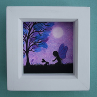 Fairy Picture, Framed Art, Gift for Daughter, Purple Tree Moon Rabbit Silhouette