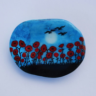 Poppies Painting, Shell Art, Poppy Gift, Hand Painted Seashell, Poppies Birds