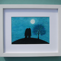 Valentines Love Gift for Her, For Him, Framed Couple Moon Picture, Romantic Art