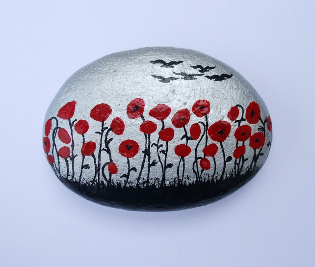 Poppies Painting, Rock Art, Red Poppy Gift, Hand Painted Stone, Flowers Rock