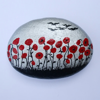 Poppy Painting, Rock Art, Red Poppies Gift, Hand Painted Stone, Flowers Rock