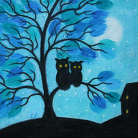 Owl Tree Picture, Framed Pastel Art, Mother Daughter Gift, Purple Owls Drawing