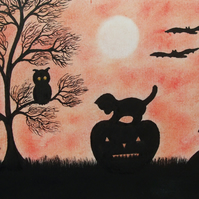 Halloween Card, Cat Pumpkin Silhouette Card, Black Cat Halloween Art Card, Bats