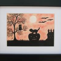 Halloween Art Picture, Cat Pumpkin Owl Silhouette Framed, Halloween Gift, Kitten