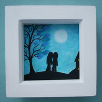 Romantic Couple Picture, Framed Love Art, Couple Moon Tree, Unique Wedding Gift