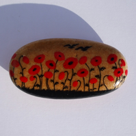 Poppies Painting, Rock Art, Hand Painted Stone, Poppy Gift, Remembrance, Pebble