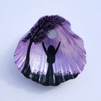 Girl Moon Tree Painting on Shell, Hand Painted Silhouettes, Daughter Gift, Art