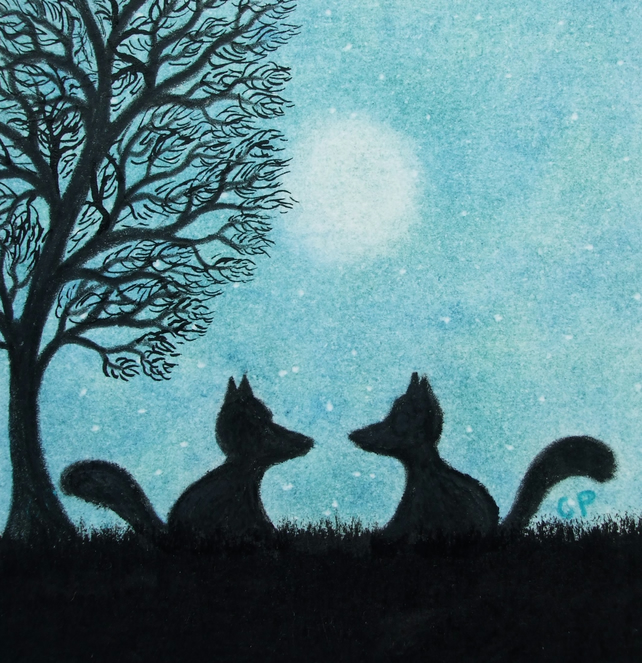 Fox Art Print, Moon Gift, Two Foxes Silhouettes Picture, Small Animal Print