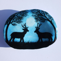Deer Shell Painting, Christmas Art Gift, Hand Painted Stags Trees Moon, Seashell