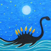 Dinosaur Birthday Card, Six Candles Loch Ness Monster Card, Funny Birthday Cake