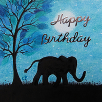 Elephant Birthday Card, Blue Tree, Kids Birthday Card, Animal Silhouette Card