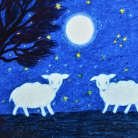 Sheep Card, Lamb Card, Children's Art Card, Moon Stars Card, Animals