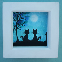 Cat Picture, Framed Original Art Drawing, Black Cats Tree Moon, Romantic Gift