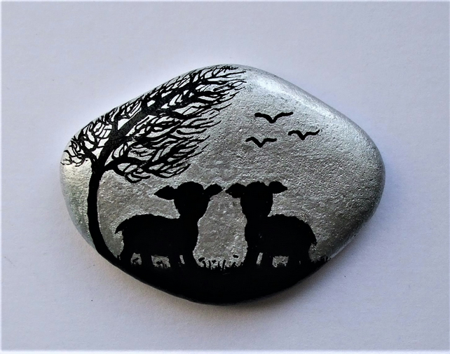 Painted Pebble, Lamb Stone Magnet, Sheep Rock Art, Small Christmas Gift, Animal