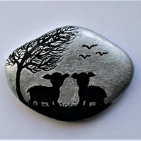 Painted Pebble, Sheep Gift, Stone Magnet, Lamb Rock Painting, Small Gift, Animal