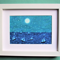 Boats Sea Picture, Christmas Art Gift, Framed Sailing Boats Moon Drawing, Winter