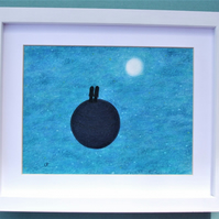 Romantic Gift for Couple, Moon Stars Space Art Picture, Framed Pastel Drawing