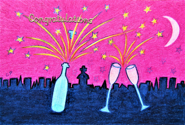 Congratulations Card, Champagne Stars Card, Well Done Blank Card, Two Glasses