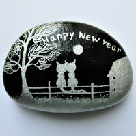 Happy New Year Gift, Cat Love Art, Painted Rock, Unique Romantic Gift for Her