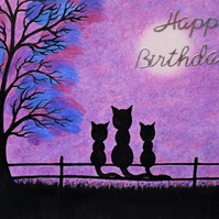 Cat Birthday Card, Daughter Card, Purple Kitten Card, Mother Twin Black Cat Card