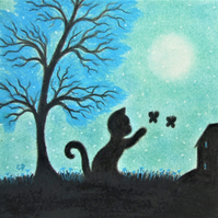 Cat Card: Black Cat Butterfly Tree Moon Card, Children Card, Cat Art Card Blank