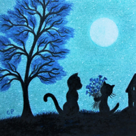 Cat Card, Daughter to Mum Card, Flowers Black Kitten Tree Moon Card, Blue Tree