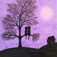 Cat Card, Purple Cat Tree Card, Love Cats, Wedding Tree Card, Anniversary Cats