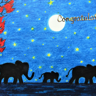 Congratulations Card, Baby Elephant Card, New Parents Card, Moon Stars Card, Art