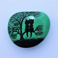 Painted Pebble Magnet , Cat Tree Stone, Love Gift, Black Cats, Anniversary Gift