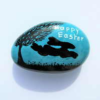 Easter Gift, Painted Rock, Hare Stone Painting, Bunny, Unique Happy Easter Gift