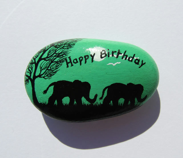 Elephant Birthday Gift, Hand Painted Rock, Elephants Stone Painting, Unique Gift