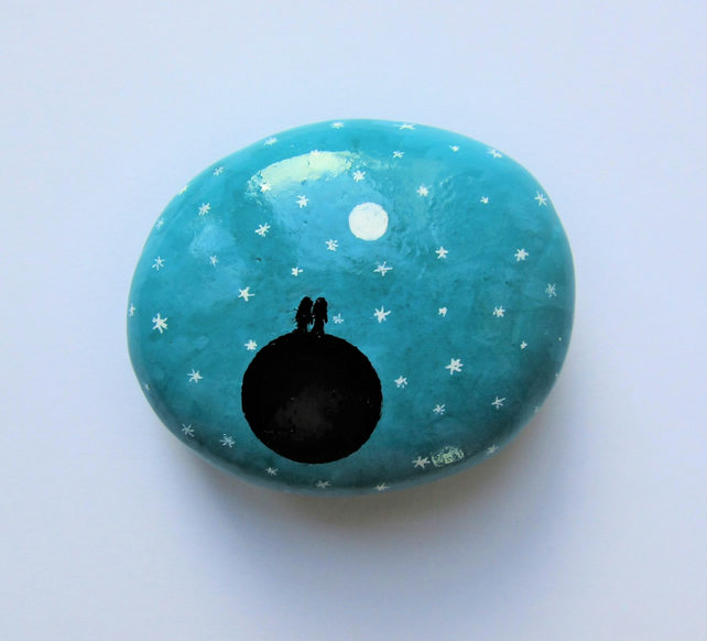 Painted Rock, Valentines Gift for Him, Space Couple Moon Star, Love Gift for Her