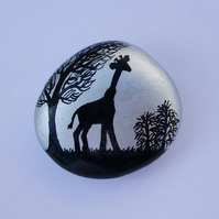 Giraffe Magnet, Painted Stone, Giraffe Silhouette, Rock Art, Hand Painted Pebble