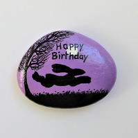 Happy Birthday Magnet, Hare Painted Rock, Mother Daughter Birthday Gift, Bunny