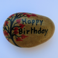 Birthday Stone, Hand Painted Birthday Tree, Rock, Unique Birthday Gift Pebble